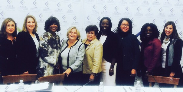 Pictured left to right: Mary Ann Gomez-CHLI Executive Director, Jocelyn Ulrich-Sr. Director Scientific & Regulatory Affairs, PhRMA, Dr. Valerie Montgomery-Rice-President and Dean, Morehouse School of Medicine, Congresswoman Ileana Ros Lihtinen (R-FL), Dr. Elena Rios - President, National Hispanic Medical Association, Karen Price-Sr. Director Pfizer, Dr. Jonca Bull-Director Minority Health US Food and Drug Administration, Tashea Holdip-Patient Assistance Pfizer, Maria Firvida-Director, Government Affairs,  AstraZeneca and CHLI Board Member